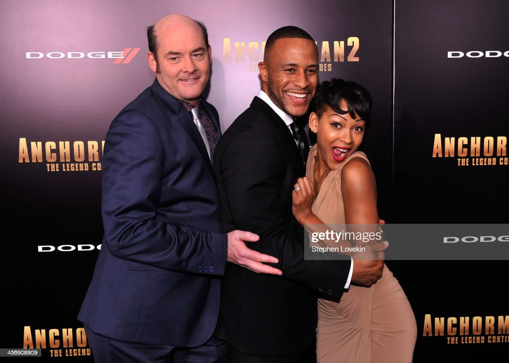 <a gi-track='captionPersonalityLinkClicked' href=/galleries/search?phrase=David+Koechner&family=editorial&specificpeople=804105 ng-click='$event.stopPropagation()'>David Koechner</a>, DeVon Franklin and <a gi-track='captionPersonalityLinkClicked' href=/galleries/search?phrase=Meagan+Good&family=editorial&specificpeople=171680 ng-click='$event.stopPropagation()'>Meagan Good</a> attends 'Anchorman 2' Premiere NYC Sponsored By Dodge at Beacon Theatre on December 15, 2013 in New York City.
