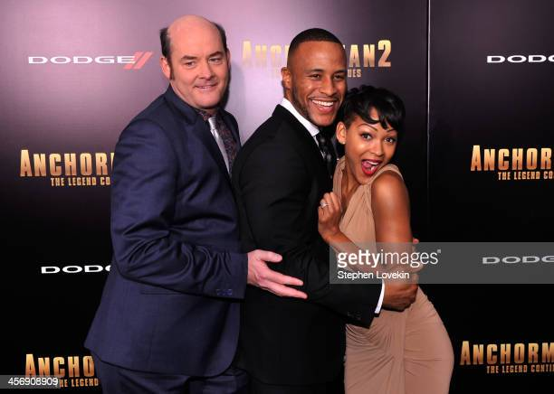 David Koechner DeVon Franklin and Meagan Good attends 'Anchorman 2' Premiere NYC Sponsored By Dodge at Beacon Theatre on December 15 2013 in New York...