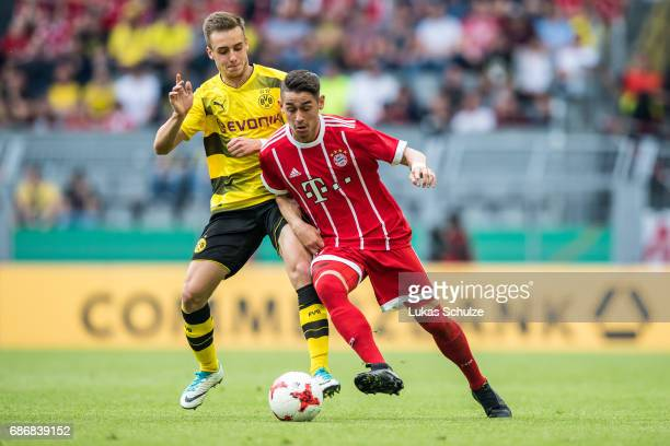 David Kopacz of Dortmund and Meritan Shabani of Munich fight for the ball during the U19 German Championship Final between Borussia Dortmund and FC...