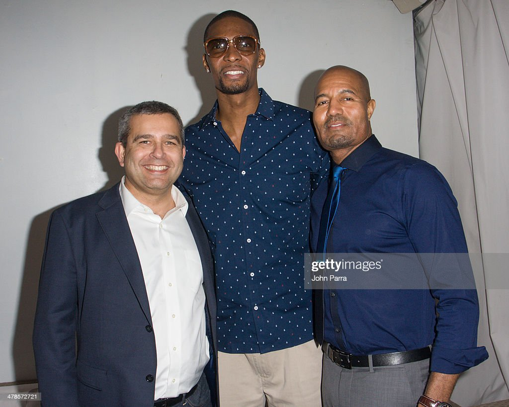 David Kornberg, <a gi-track='captionPersonalityLinkClicked' href=/galleries/search?phrase=Chris+Bosh&family=editorial&specificpeople=201574 ng-click='$event.stopPropagation()'>Chris Bosh</a> and Toby Jackson attend the EXPRESS South Beach at The Raleigh Hotel on March 13, 2014 in Miami, Florida.