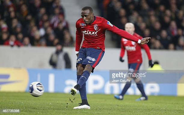 David Koubemba of Lille in action during the French League Cup match between Lille OSC and Paris SaintGermain at Grand Stade Pierre Mauroy on...