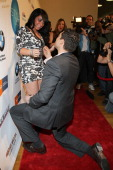 David Kovaks proposes marriage to girlfriend and Jersey Shore cast member Angelina Pivarnick on the red carpet at he Sachika Fall 2011 fashion show...