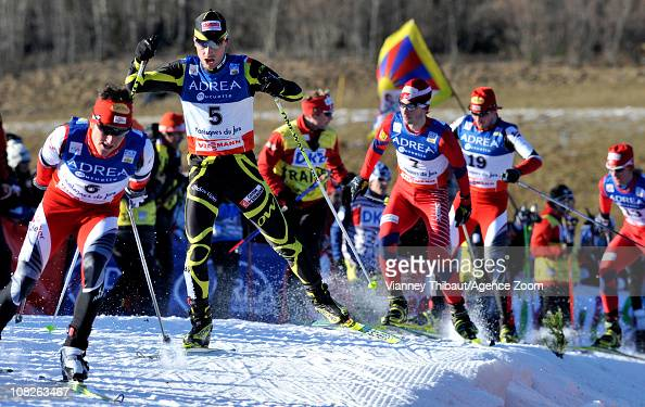 David Kreiner of Austria Francois Braud of France Jan Schmid of Norway Felix Gottwald of Austria takes 2nd place during the DKB Nordic Combined FIS...
