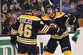 David Krejci and Brett Connolly of the Boston Bruins celebrate a goal against the Arizona Coyotes at the TD Garden on October 27 2015 in Boston...