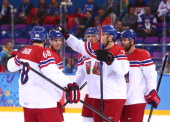 David Krejci of Czech Republic celebrates with teammates after a goal in the first period against Slovakia during the Men's Qualification Playoff...