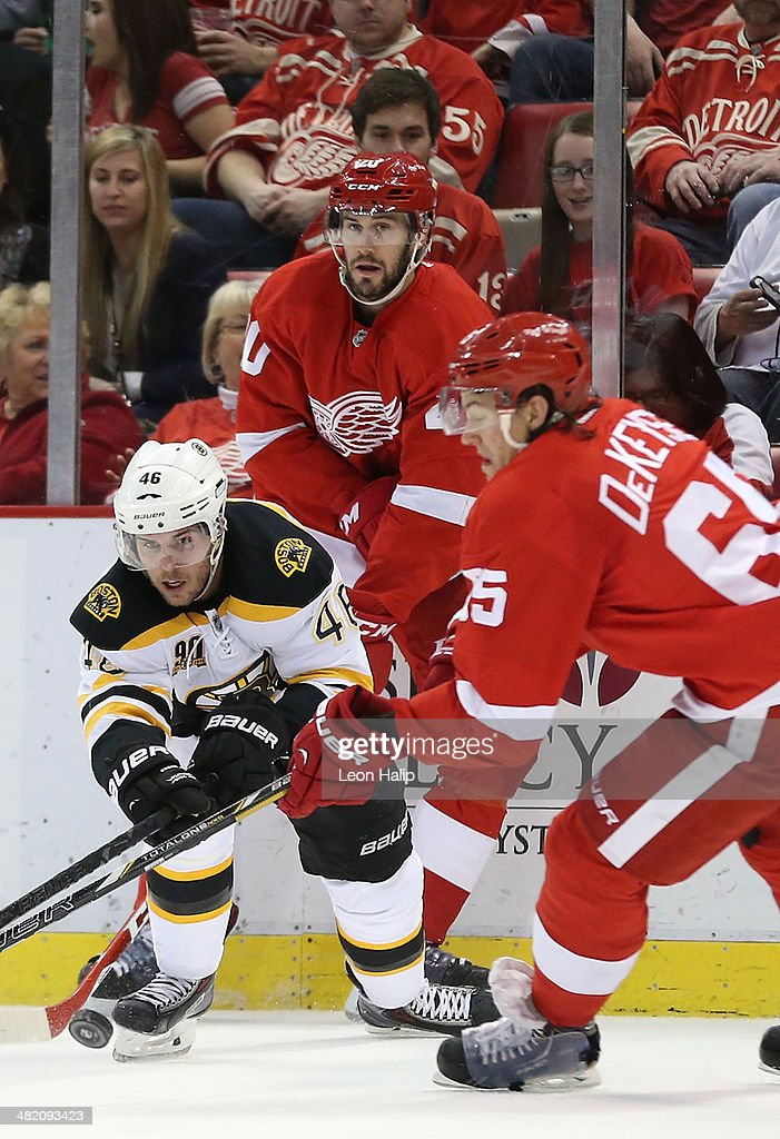 David Krejci #46 of the Boston Bruins and Danny DeKeyser #65 of the Detroit Red Wings battle for the puck during the second period of the game at Joe Louis Arena on April 2, 2014 in Detroit, Michigan.