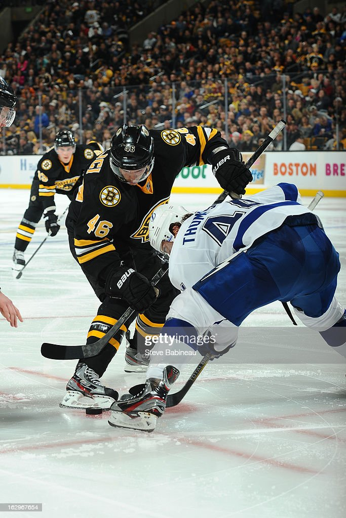 <a gi-track='captionPersonalityLinkClicked' href=/galleries/search?phrase=David+Krejci&family=editorial&specificpeople=722556 ng-click='$event.stopPropagation()'>David Krejci</a> #46 of the Boston Bruins at a face off against the Tampa Bay Lightning at the TD Garden on March 2, 2013 in Boston, Massachusetts.