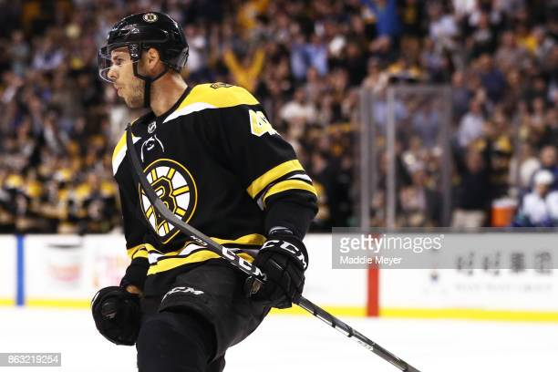 David Krejci of the Boston Bruins celebrates after scoring a goal against the Vancouver Canucks during the first period at TD Garden on October 19...