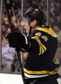 David Krejci of the Boston Bruins celebrates his goal in the third period against the Buffalo Sabres on March 8 2012 at TD Garden in Boston...