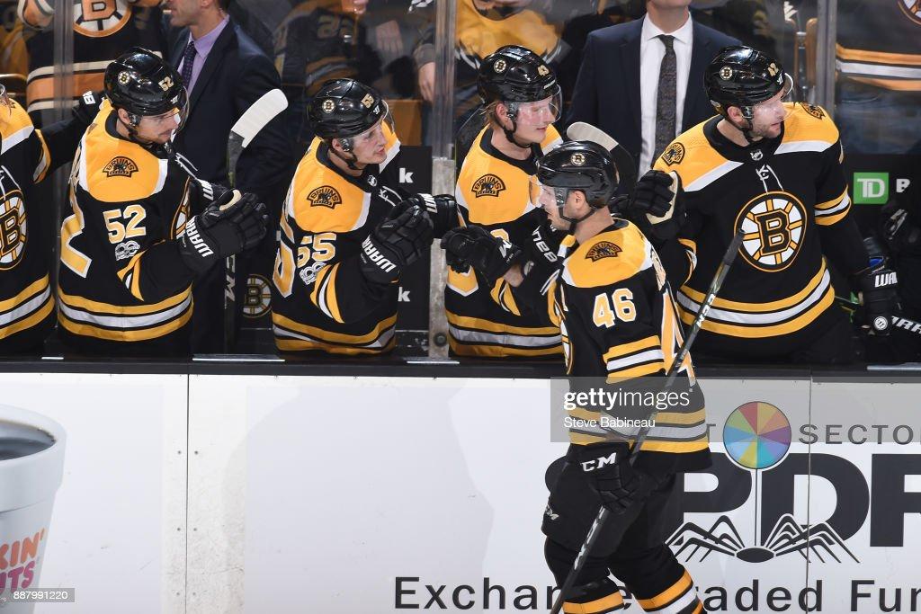 David Krejci #46 of the Boston Bruins celebrates his third period goal against the Arizona Coyotes at the TD Garden on December 7, 2017 in Boston, Massachusetts.