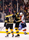 David Krejci of the Boston Bruins is congratulated by teammate Zdeno Chara following his goal in the second period against the Florida Panthers at TD...