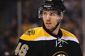 David Krejci of the Boston Bruins looks on during the second period against the New York Rangers at TD Garden on January 15 2015 in Boston...