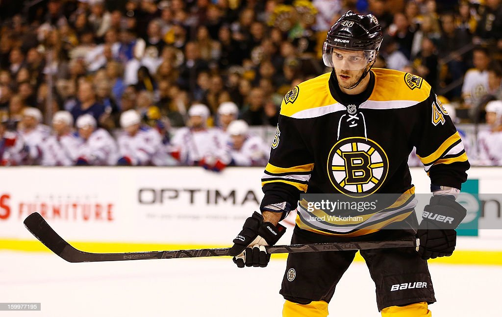 David Krejci #46 of the Boston Bruins plays against the New York Rangers during the season opener game on January 19, 2013 at TD Garden in Boston, Massachusetts.