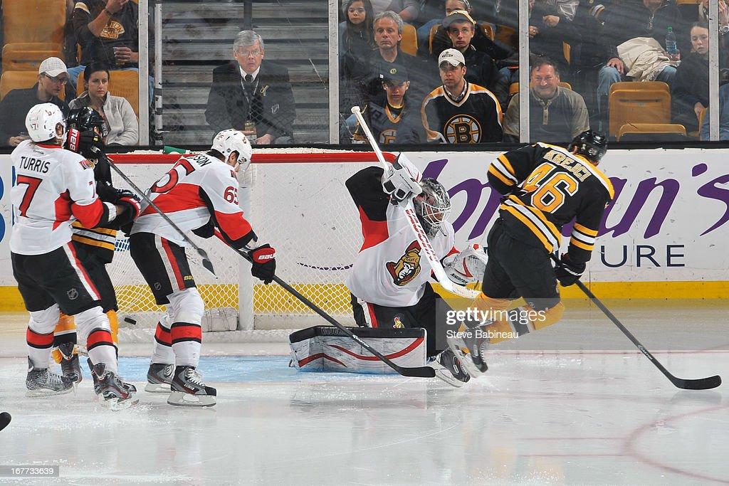 David Krejci #46 of the Boston Bruins scores a goal against the Ottawa Senators at the TD Garden on April 28, 2013 in Boston, Massachusetts.