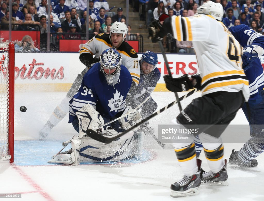 <a gi-track='captionPersonalityLinkClicked' href=/galleries/search?phrase=David+Krejci&family=editorial&specificpeople=722556 ng-click='$event.stopPropagation()'>David Krejci</a> #46 of the Boston Bruins scores the overtime winning goal against James Reimer #34 of the Toronto Maple Leafs in Game Four of the Eastern Conference Quarterfinals during the 2013 NHL Stanley Cup Playoffs on May 8, 2013 at the Air Canada Centre in Toronto, Ontario, Canada. The Bruins defeated the Leafs 4-3 in overtime to take a 3-1 series lead.