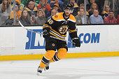 David Krejci of the Boston Bruins skates against the Anaheim Ducks at the TD Garden on March 28 2015 in Boston Massachusetts