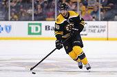 David Krejci of the Boston Bruins skates against the Dallas Stars at TD Garden on February 10 2015 in Boston Massachusetts