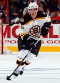 David Krejci of the Boston Bruins skates against the Philadelphia Flyers on October 22 2009 at Wachovia Center in Philadelphia Pennsylvania The...
