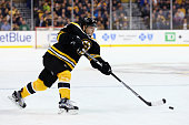 David Krejci of the Boston Bruins skates against the Vancouver Canucks during the third period at TD Garden on January 21 2016 in Boston...