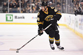 David Krejci of the Boston Bruins skates with the puck against the Montreal Canadiens at the TD Garden on February 8 2015 in Boston Massachusetts