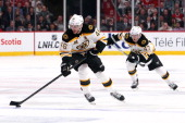 David Krejci of the Boston Bruins skates with the puck against the Montreal Canadiens in Game Six of the Second Round of the 2014 NHL Stanley Cup...