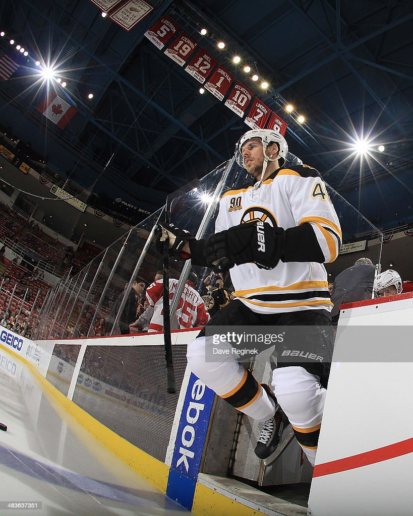 David Krejci #46 of the Boston Bruins steps onto the ice for warmups before an NHL game against the Detroit Red Wings on April 2, 2014 at Joe Louis Arena in Detroit, Michigan. Detroit defeated Boston 3-2