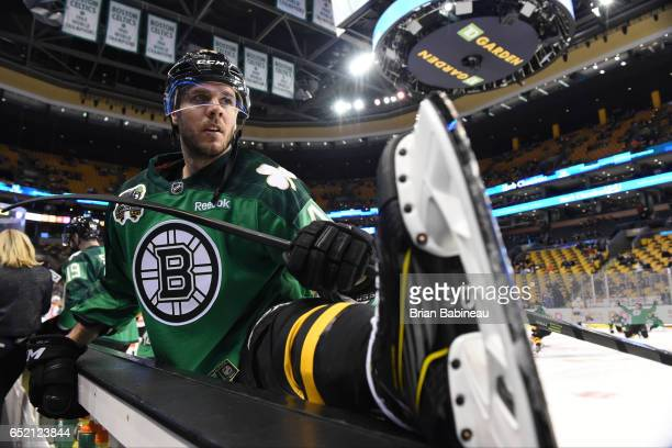 David Krejci of the Boston Bruins warms up before the game against the Philadelphia Flyers at the TD Garden on March 11 2017 in Boston Massachusetts