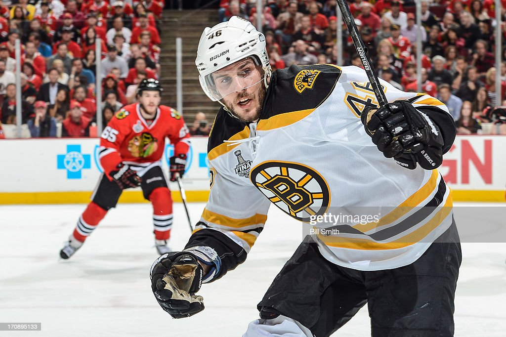 David Krejci #46 of the Boston Bruins watches for the puck in Game Two of the Stanley Cup Final against the Chicago Blackhawks at the United Center on June 15, 2013 in Chicago, Illinois.