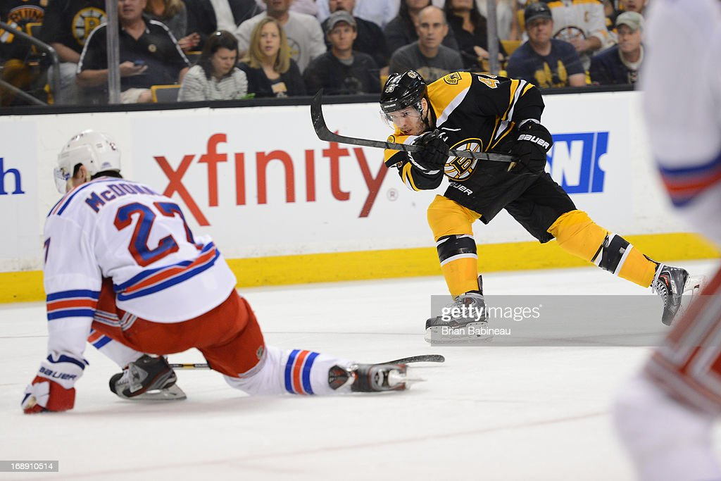 David Krjeci #46 of the Boston Bruins shoots the puck against <a gi-track='captionPersonalityLinkClicked' href=/galleries/search?phrase=Ryan+McDonagh&family=editorial&specificpeople=4324983 ng-click='$event.stopPropagation()'>Ryan McDonagh</a> #27 of the New York Rangers in Game One of the Eastern Conference Semifinals during the 2013 NHL Stanley Cup Playoffs at TD Garden on May 16, 2013 in Boston, Massachusetts.