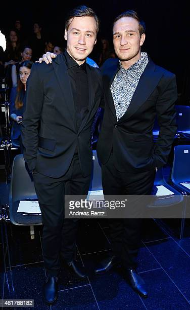 David Kross and Frederick Lau attend the Kilian Kerner show during the MercedesBenz Fashion Week Berlin Autumn/Winter 2015/16 at Kosmos on January 19...