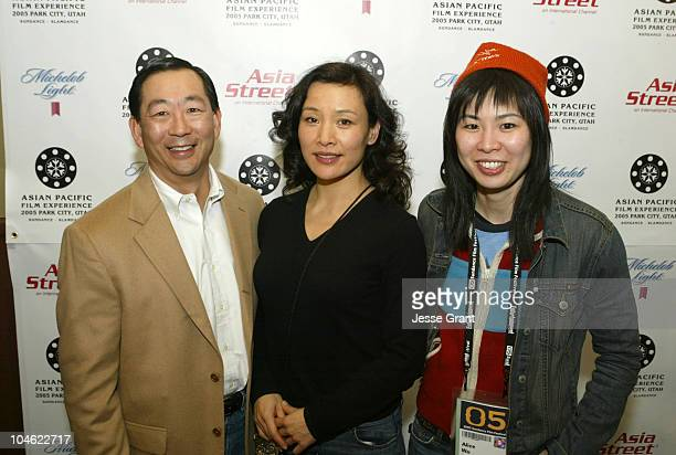 David L Kim Joan Chen and Alice Wu during 2005 Sundance Film Festival Asian Filmmaker's Reception at China Panda Inn in Park City Utah United States