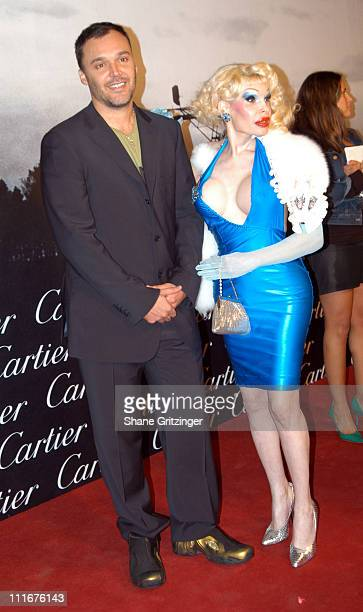 David LaChapelle and Amanda LePore during Santos Night The 100 Year Anniversary of The Cartier Santos Watch 1904 2004 at The Armory in New York City...