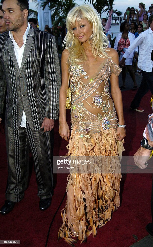 David LaChapelle and Paris Hilton during 2004 MTV Video Music Awards - Red Carpet at American Airlines Arena in Miami, Florida, United States.