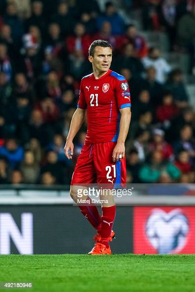 David Lafata of Czech Republic in action during the UEFA EURO 2016 Group A Qualifier match between Czech Republic and Turkey at Letna Stadium on...