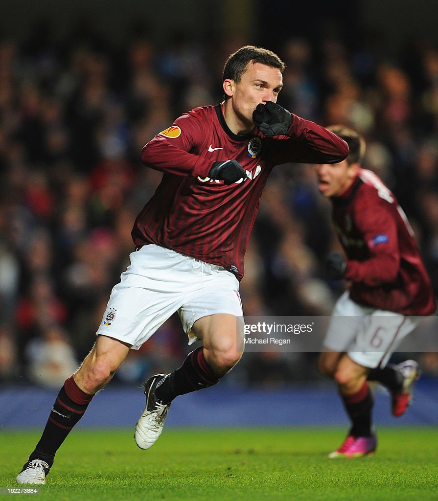 David Lafata of Sparta Praha celebrates scoring the opening goal during the UEFA Europa League Round of 32 second leg match between Chelsea and Sparta Praha at Stamford Bridge on February 21, 2013 in London, England.