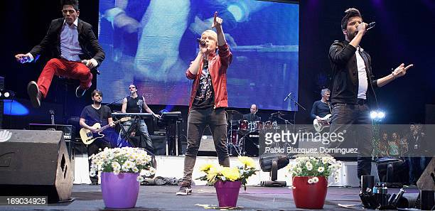 David Lafuente Carlos Marco and Blas Canto of Spanish band Auryn perform live on stage at the Primavera Pop 2013 music festival in Palacio de...