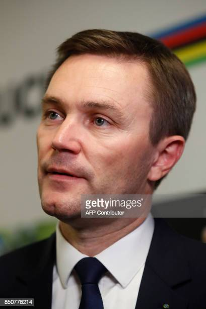 David Lappartient newly elected President of the UCI attends press conference in Bergen Norway on September 21 2017 Frenchman David Lappartient said...