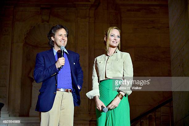 David Lauren and actress Uma Thurman attend the Ralph Lauren Fall 14 Children's Fashion Show in Support of Literacy at New York Public Library on May...