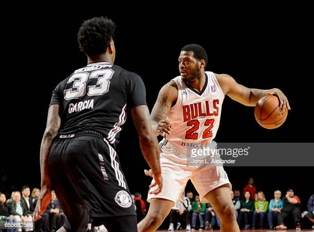 David Laury III of the Windy City Bulls dribbles the ball against the Austin Spurs during a NBA DLeague game on March 17 2017 at the Sears Centre...