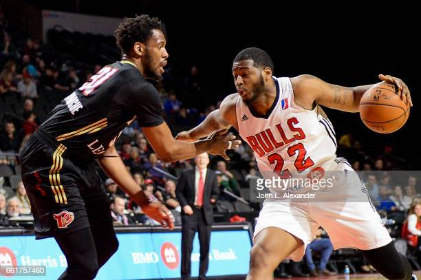 David Laury III of the Windy City Bulls dribbles the ball against the Erie BayHawks on March 28 2017 at the Sears Centre Arena in Hoffman Estates...