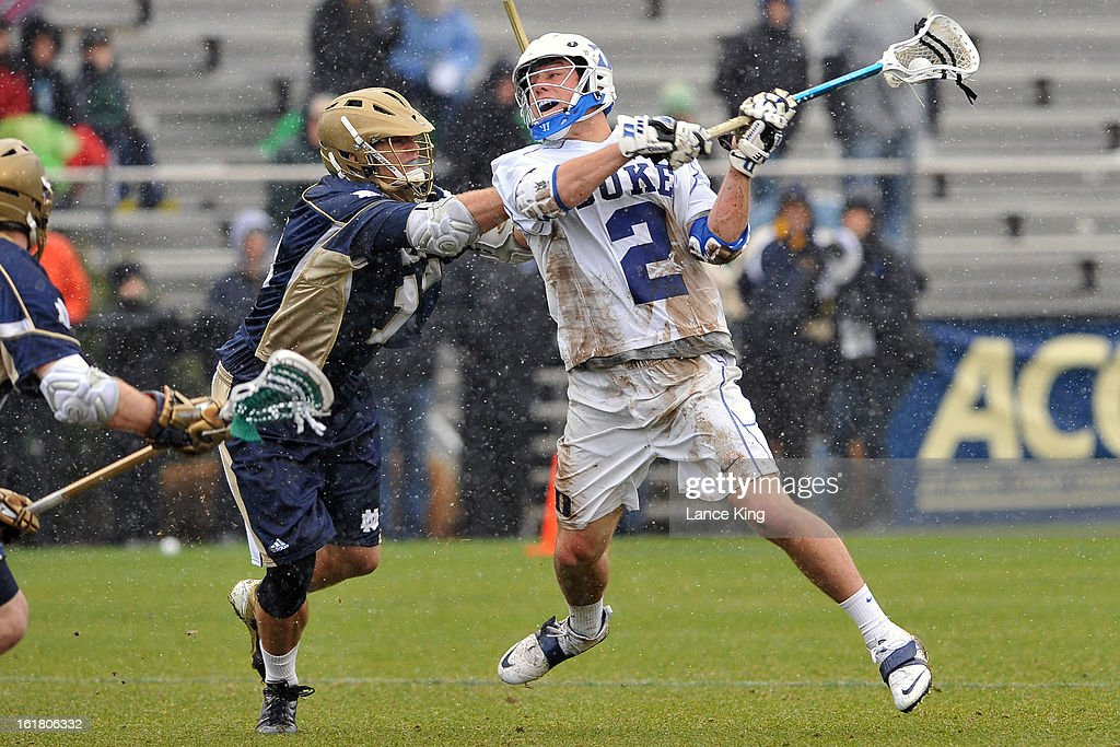 David Lawson #2 of the Duke Blue Devils shoots the ball against the Notre Dame Fighting Irish at Koskinen Stadium on February 16, 2013 in Durham, North Carolina. Notre Dame defeated Duke 13-5.