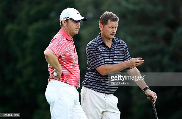 David Ledingham and Gary Mewett of Chestfield Golf Club discuss tactics during the Regional Final of the Virgin Atlantic PGA National ProAm...