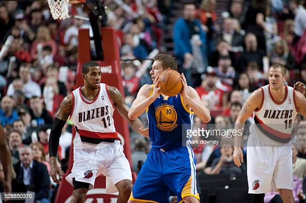 David Lee a Golden State Warrior and LaMarcus Aldridge a Portland Trail Blazer The Trail Blazers won 90 to 87