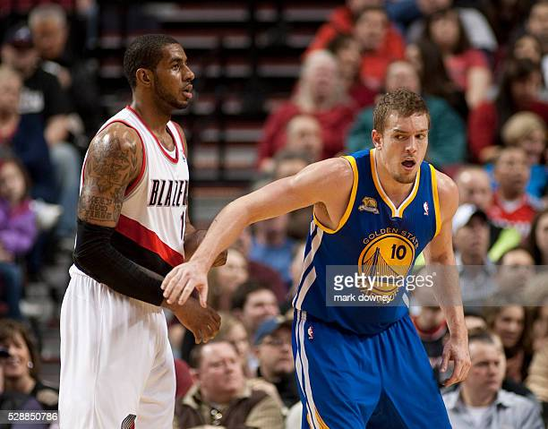 David Lee a Golden State Warrior blocks LaMarcus Aldridge a Portland Trail Blazer The Trail Blazers won 90 to 87