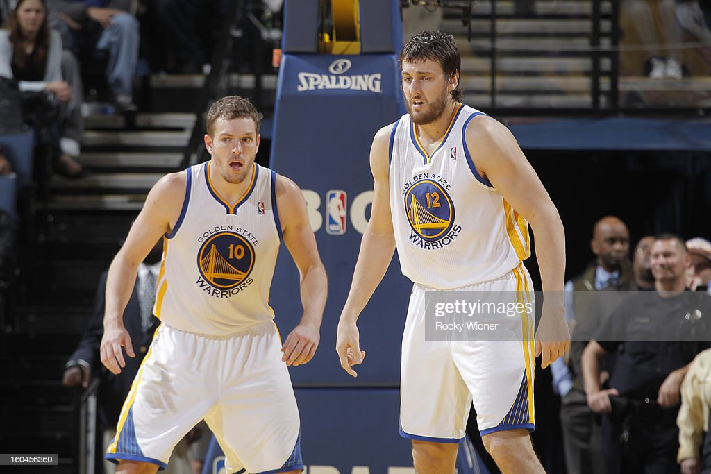 David Lee #10 and Andrew Bogut #12 of the Golden State Warriors during a game against the Dallas Mavericks on January 31, 2013 at Oracle Arena in Oakland, California.