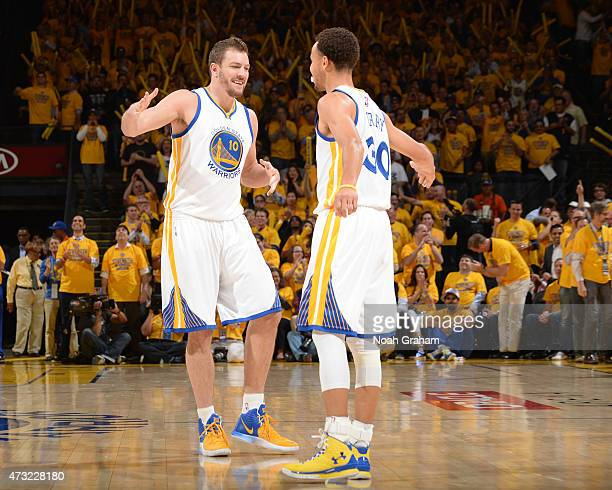David Lee and Stephen Curry of the Golden State Warriors during the game against the Memphis Grizzlies in Game Five of the Western Conference...