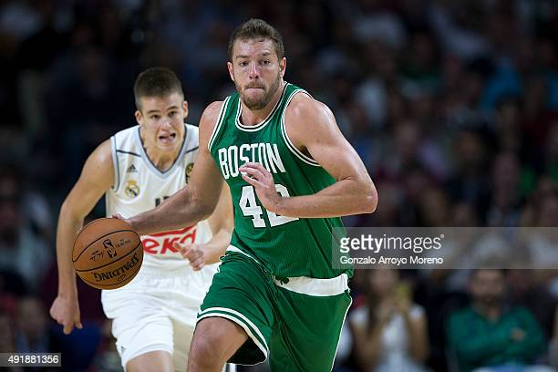 David Lee of Boston Celtics attacks during the friendlies of the NBA Global Games 2015 basketball match between Real Madrid and Boston Celtics at...