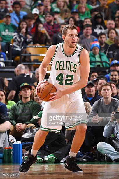 David Lee of the Boston Celtics defends the ball against the Dallas Mavericks during the game on November 18 2015 at TD Garden in Boston...