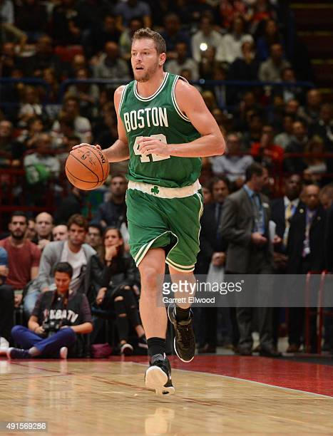 David Lee of the Boston Celtics dribbles against Emporio Armani Milano as part of the 2015 Global Games on October 6 2015 at the Mediolanum Forum...