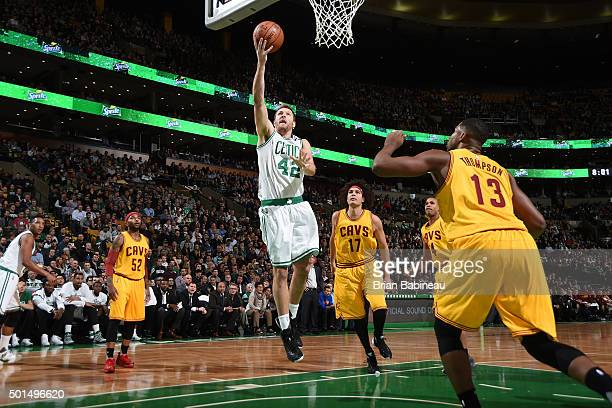 David Lee of the Boston Celtics goes for the layup against the Cleveland Cavaliers during the game on December 15 2015 at TD Garden in Boston...